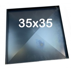 Teglia Forno 35x35x2 Cm, per Pizza Professionale Spessore teglie 8/10 TEGLIE IN FERRO BLU